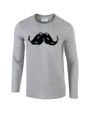 "Heavy Mustache Mens Long SleeveT Shirt Black-Long Sleeve T Shirts-Gildan-sport grey-S To Fit Chest 36-38"" (91-96cm)-Daataadirect"