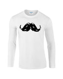 "Heavy Mustache Mens Long SleeveT Shirt Black-Long Sleeve T Shirts-Gildan-white-S To Fit Chest 36-38"" (91-96cm)-Daataadirect"