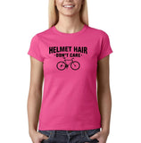 Helmet hair don't care Black Womens T Shirt-Daataadirect