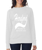 "HEREFORD Probably The Best City In The World Womens SweatShirts White-SweatShirts-ANVIL-White-S UK 10 Euro 34 Bust 32""-Daataadirect"