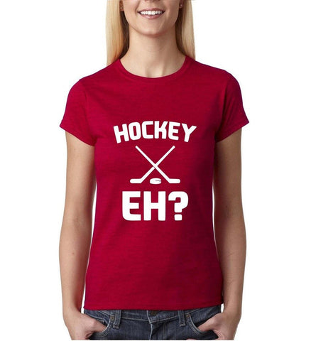 "Hockey EH White Womens T Shirt-T Shirts-Gildan-Antique Cherry-S UK 10 Euro 34 Bust 32""-Daataadirect"