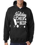 "Holiday Cheer And Beer Mens Hoodies White-Hoodies-Gildan-black -S To Fit Chest 36-38"" (91-96cm)-Daataadirect"
