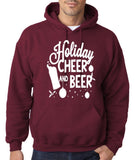 "Holiday Cheer And Beer Mens Hoodies White-Hoodies-Gildan-maroon -S To Fit Chest 36-38"" (91-96cm)-Daataadirect"