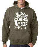 "Holiday Cheer And Beer Mens Hoodies White-Hoodies-Gildan-military green-S To Fit Chest 36-38"" (91-96cm)-Daataadirect"