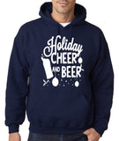 "Holiday Cheer And Beer Mens Hoodies White-Hoodies-Gildan-Navy blue -S To Fit Chest 36-38"" (91-96cm)-Daataadirect"