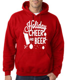 "Holiday Cheer And Beer Mens Hoodies White-Hoodies-Gildan-red-S To Fit Chest 36-38"" (91-96cm)-Daataadirect"