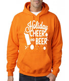 "Holiday Cheer And Beer Mens Hoodies White-Hoodies-Gildan-safety orange-S To Fit Chest 36-38"" (91-96cm)-Daataadirect"