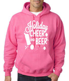 "Holiday Cheer And Beer Mens Hoodies White-Hoodies-Gildan-Safety pink-S To Fit Chest 36-38"" (91-96cm)-Daataadirect"