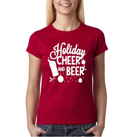 "Holiday cheer and beer Womens T Shirt White-T Shirts-Gildan-Antique Cherry-S UK 10 Euro 34 Bust 32""-Daataadirect"