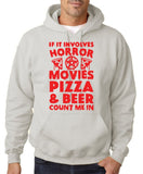 "HORROR MOVIES, PIZZA AND BEER COUNT ME IN Men Hoodie Red-Hoodies-Gildan-Ash-S To Fit Chest 36-38"" (91-96cm)-Daataadirect"