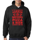 "HORROR MOVIES, PIZZA AND BEER COUNT ME IN Men Hoodie Red-Hoodies-Gildan-Black-S To Fit Chest 36-38"" (91-96cm)-Daataadirect"