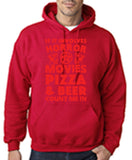 "HORROR MOVIES, PIZZA AND BEER COUNT ME IN Men Hoodie Red-Hoodies-Gildan-Cherry Red-S To Fit Chest 36-38"" (91-96cm)-Daataadirect"