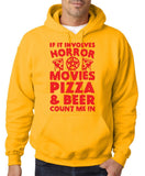 "HORROR MOVIES, PIZZA AND BEER COUNT ME IN Men Hoodie Red-Hoodies-Gildan-Gold-S To Fit Chest 36-38"" (91-96cm)-Daataadirect"