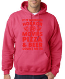 "HORROR MOVIES, PIZZA AND BEER COUNT ME IN Men Hoodie Red-Hoodies-Gildan-Heliconia-S To Fit Chest 36-38"" (91-96cm)-Daataadirect"