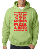 "HORROR MOVIES, PIZZA AND BEER COUNT ME IN Men Hoodie Red-Hoodies-Gildan-Kiwi-S To Fit Chest 36-38"" (91-96cm)-Daataadirect"