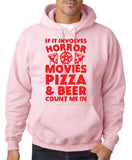 "HORROR MOVIES, PIZZA AND BEER COUNT ME IN Men Hoodie Red-Hoodies-Gildan-Light Pink-S To Fit Chest 36-38"" (91-96cm)-Daataadirect"