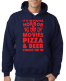 "HORROR MOVIES, PIZZA AND BEER COUNT ME IN Men Hoodie Red-Hoodies-Gildan-Navy-S To Fit Chest 36-38"" (91-96cm)-Daataadirect"