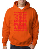 "HORROR MOVIES, PIZZA AND BEER COUNT ME IN Men Hoodie Red-Hoodies-Gildan-Orange-S To Fit Chest 36-38"" (91-96cm)-Daataadirect"