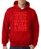 "HORROR MOVIES, PIZZA AND BEER COUNT ME IN Men Hoodie Red-Hoodies-Gildan-Red-S To Fit Chest 36-38"" (91-96cm)-Daataadirect"