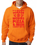 "HORROR MOVIES, PIZZA AND BEER COUNT ME IN Men Hoodie Red-Hoodies-Gildan-Safety Orange-S To Fit Chest 36-38"" (91-96cm)-Daataadirect"