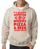 "HORROR MOVIES, PIZZA AND BEER COUNT ME IN Men Hoodie Red-Hoodies-Gildan-Sand-S To Fit Chest 36-38"" (91-96cm)-Daataadirect"