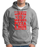 "HORROR MOVIES, PIZZA AND BEER COUNT ME IN Men Hoodie Red-Hoodies-Gildan-Sport Grey-S To Fit Chest 36-38"" (91-96cm)-Daataadirect"