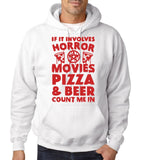 "HORROR MOVIES, PIZZA AND BEER COUNT ME IN Men Hoodie Red-Hoodies-Gildan-White-S To Fit Chest 36-38"" (91-96cm)-Daataadirect"