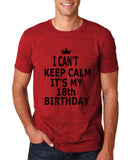 "I can't keep calm it's my 18th birthday Men T Shirt Black-T Shirts-Gildan-Antique Cherry-S To Fit Chest 36-38"" (91-96cm)-Daataadirect"