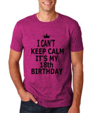 "I can't keep calm it's my 18th birthday Men T Shirt Black-T Shirts-Gildan-Antique Helconia-S To Fit Chest 36-38"" (91-96cm)-Daataadirect"