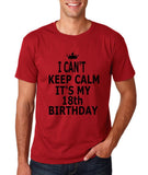 "I can't keep calm it's my 18th birthday Men T Shirt Black-T Shirts-Gildan-Cardinal-S To Fit Chest 36-38"" (91-96cm)-Daataadirect"