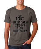 "I can't keep calm it's my 18th birthday Men T Shirt Black-T Shirts-Gildan-Charcoal-S To Fit Chest 36-38"" (91-96cm)-Daataadirect"