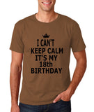 "I can't keep calm it's my 18th birthday Men T Shirt Black-T Shirts-Gildan-Chestnut-S To Fit Chest 36-38"" (91-96cm)-Daataadirect"