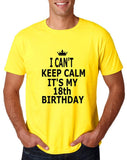 "I can't keep calm it's my 18th birthday Men T Shirt Black-T Shirts-Gildan-Daisy-S To Fit Chest 36-38"" (91-96cm)-Daataadirect"