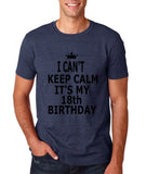 "I can't keep calm it's my 18th birthday Men T Shirt Black-T Shirts-Gildan-Heather Navy-S To Fit Chest 36-38"" (91-96cm)-Daataadirect"