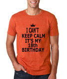 "I can't keep calm it's my 18th birthday Men T Shirt Black-T Shirts-Gildan-Heather Orange-S To Fit Chest 36-38"" (91-96cm)-Daataadirect"