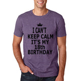 "I can't keep calm it's my 18th birthday Men T Shirt Black-T Shirts-Gildan-Heather Purple-S To Fit Chest 36-38"" (91-96cm)-Daataadirect"