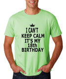 "I can't keep calm it's my 18th birthday Men T Shirt Black-T Shirts-Gildan-Mint Green-S To Fit Chest 36-38"" (91-96cm)-Daataadirect"