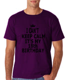 "I can't keep calm it's my 18th birthday Men T Shirt Black-T Shirts-Gildan-Purple-S To Fit Chest 36-38"" (91-96cm)-Daataadirect"