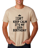 "I can't keep calm it's my 18th birthday Men T Shirt Black-T Shirts-Gildan-Sand-S To Fit Chest 36-38"" (91-96cm)-Daataadirect"