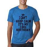"I can't keep calm it's my 18th birthday Men T Shirt Black-T Shirts-Gildan-Sapphire-S To Fit Chest 36-38"" (91-96cm)-Daataadirect"