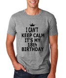 "I can't keep calm it's my 18th birthday Men T Shirt Black-T Shirts-Gildan-Sport Grey-S To Fit Chest 36-38"" (91-96cm)-Daataadirect"