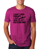 "I don't need therapy I just need to go kayaking Mens T Shirts Black-T Shirts-Gildan-Antique Helconia-S To Fit Chest 36-38"" (91-96cm)-Daataadirect"