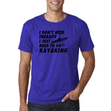 "I don't need therapy I just need to go kayaking Mens T Shirts Black-T Shirts-Gildan-Cobalt-S To Fit Chest 36-38"" (91-96cm)-Daataadirect"