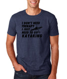 "I don't need therapy I just need to go kayaking Mens T Shirts Black-T Shirts-Gildan-Heather Navy-S To Fit Chest 36-38"" (91-96cm)-Daataadirect"