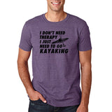 "I don't need therapy I just need to go kayaking Mens T Shirts Black-T Shirts-Gildan-Heather Purple-S To Fit Chest 36-38"" (91-96cm)-Daataadirect"