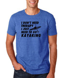 "I don't need therapy I just need to go kayaking Mens T Shirts Black-T Shirts-Gildan-Heather Royal-S To Fit Chest 36-38"" (91-96cm)-Daataadirect"