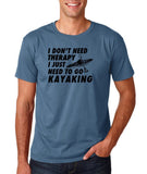 "I don't need therapy I just need to go kayaking Mens T Shirts Black-T Shirts-Gildan-Indigo Blue-S To Fit Chest 36-38"" (91-96cm)-Daataadirect"