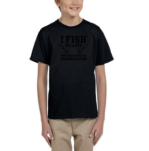 I fish because punching people is frowned upon Black Kids T Shirt-T Shirts-Gildan-Black-YXS (3-5 Year)-Daataadirect