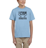 I fish because punching people is frowned upon Black Kids T Shirt-T Shirts-Gildan-Light Blue-YXS (3-5 Year)-Daataadirect