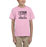 I fish because punching people is frowned upon Black Kids T Shirt-T Shirts-Gildan-Light Pink-YXS (3-5 Year)-Daataadirect